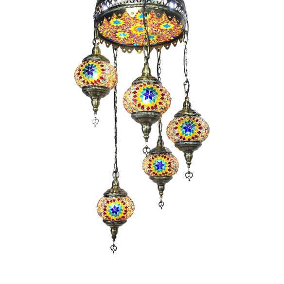 Ball Colorful Glass Hanging Chandelier Retro 6 Heads Bronze Ceiling Pendant Light for Restaurant Chandeliers qOy6V