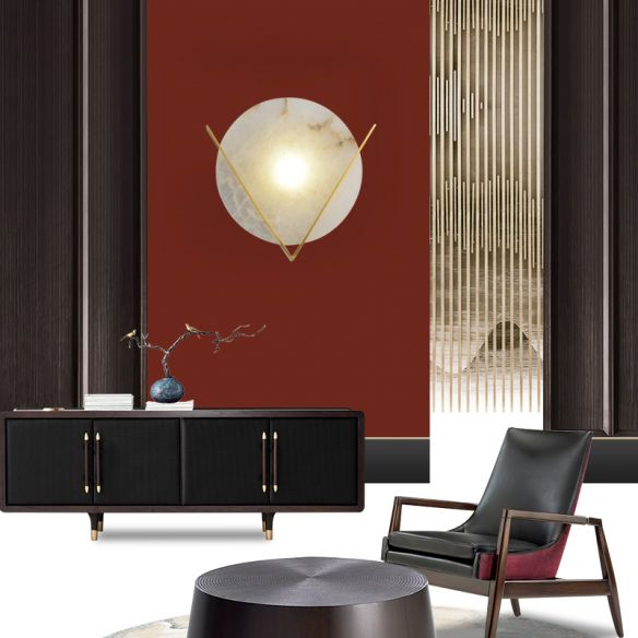 Gold LED Flush Wall Sconce Colonialism Marble Round Wall Light Fixture for Bedroom Wall Lamps & Sconces UBmhK