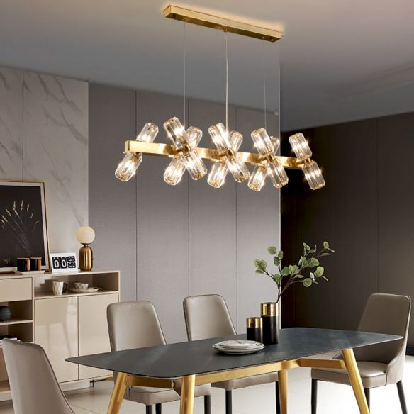 Tubular Chandelier Lamp Traditionary Beveled Crystal 12/16 Bulbs Gold Hanging Pendant Light Chandeliers OcamE