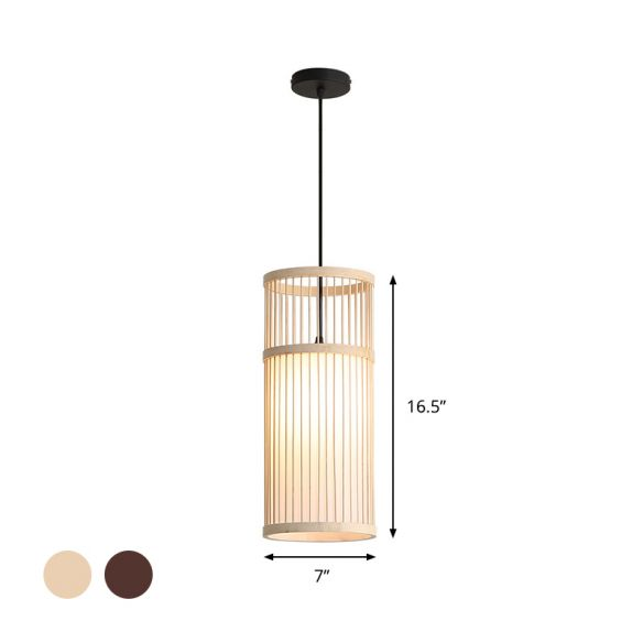 Bamboo Cylinder Hanging Lamp Modern Style 1 Light Beige/Coffee Suspension Pendant Light Pendant Lights owP2z