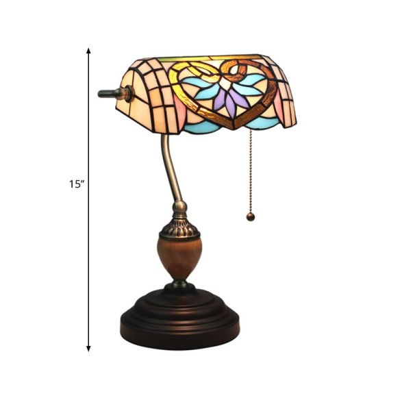 Tiffany Victorian/Mediterranean/Baroque Table Light 1 Light Stained Glass Nightstand in Brass for Bedroom Table Lamps tKxzC