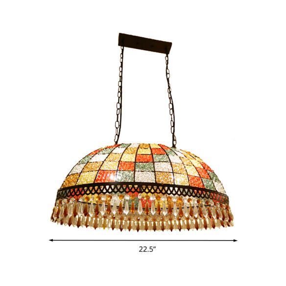 2 Heads Crystal Drop Ceiling Suspension Lamp Southeast Asian Style Black Dome Living Room Chandeliers 6DrVn