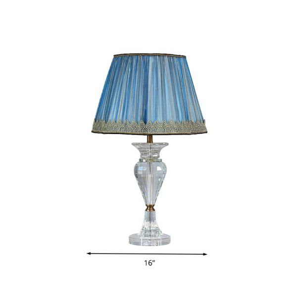 1 Light Barrel Night Table Lamp Traditional Blue Fabric Nightstand Light with Crystal Base Table Lamps GzijZ