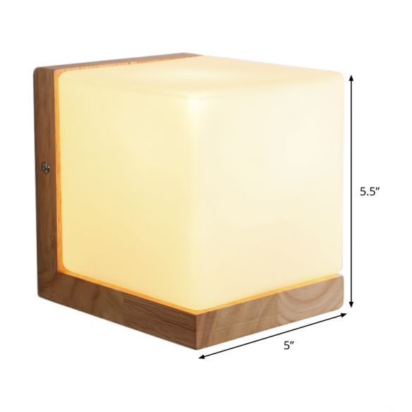 Contemporary Square Sconce Light White Glass 1 Bulb Living Room Wall Mounted Lighting Wall Lamps & Sconces ZdAXj