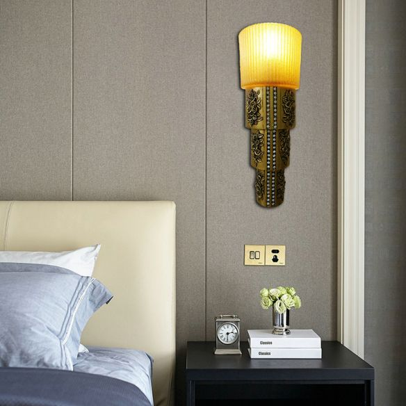 1 Light Wall Mounted Light with Cylinder Amber Glass Rustic Style Indoor Gold Finish Wall Lighting Wall Lamps & Sconces k6qIL