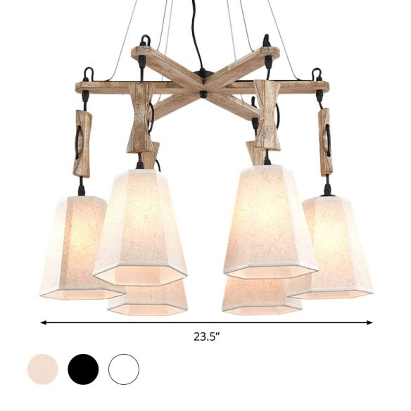 Fabric Hexagon Chandelier Lamp Contemporary 6 Heads Black/White/Flaxen Hanging Light Kit for Dining Room Chandeliers sqS4O