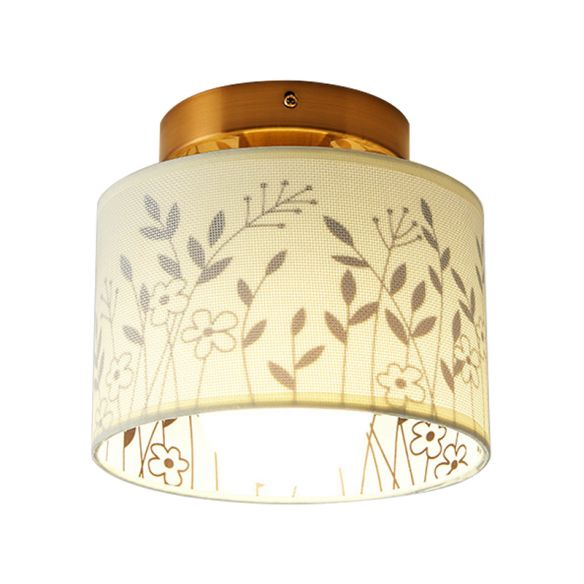 Fabric Cylinder Flush Mount Fixture with Flower/Deer Pattern Nordic 1 Bulb Flush Mount Ceiling Light for Foyer Close To Ceiling Lights WOwoZ