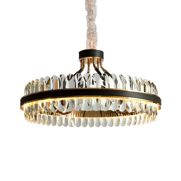 LED Living Room Chandelier Lighting Black Pendant Light Fixture with Round Beveled Crystal Shade Chandeliers WB1vS