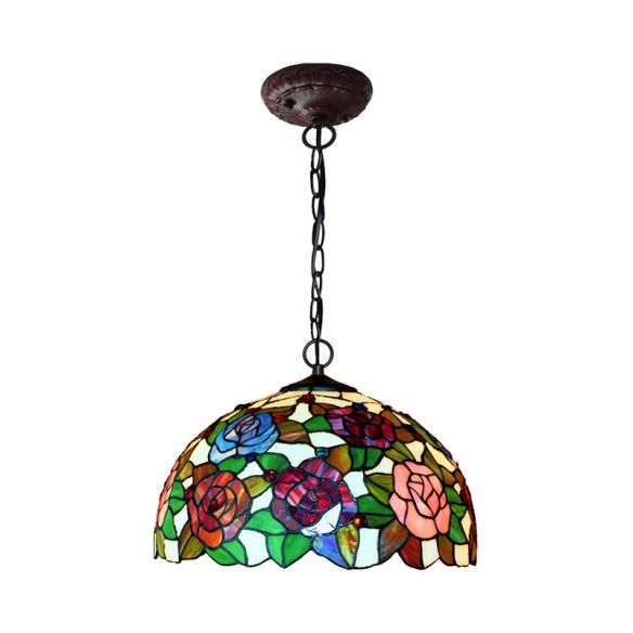 1/2 Lights Rose Hanging Chandelier Tiffany Style Red/Green Stained Glass Pendant Lamp, 12