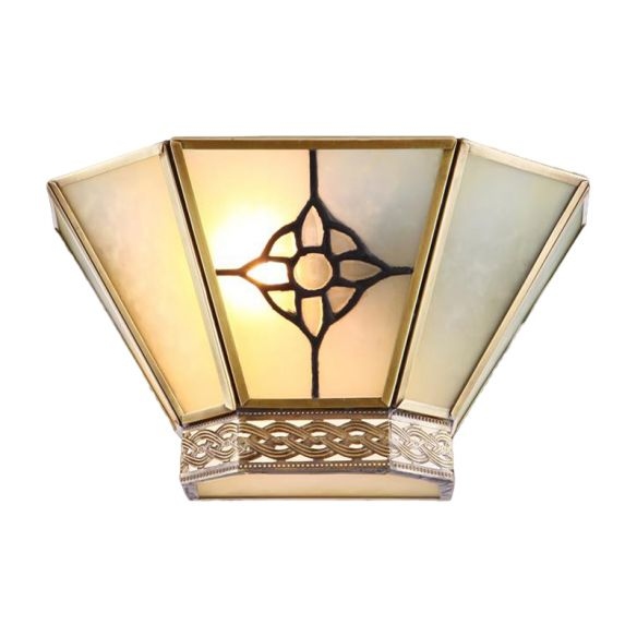 1 Light Wall Sconce Conical White Frosted Glass Retro Wall Mount Lighting with Gold Twisting Pattern Wall Lamps & Sconces u7Ctn