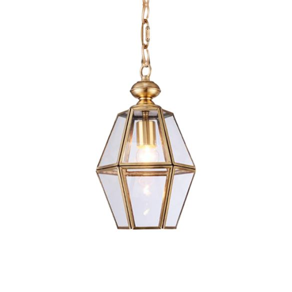 1 Bulb Ceiling Pendant Light Colonialism Living Room Hanging Lamp with Geometric Clear/Yellow Glass Shade Pendant Lights PQt39