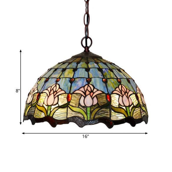 1/2 Lights Chandelier Light Tiffany Red/Green Cut Glass Suspension Lamp for Kitchen, 12