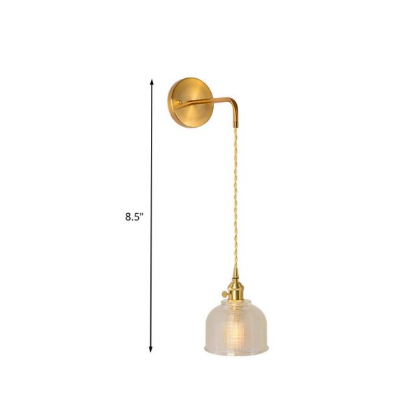 1 Light Wall Mount Lighting Traditional Dome/Cone Clear Prismatic Glass LED Sconce Light Fixture in Gold Wall Lamps & Sconces BIU8m