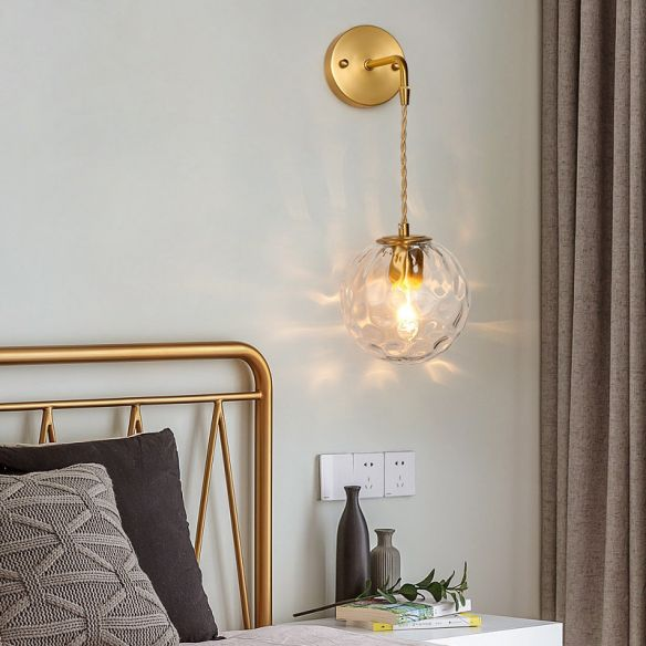 1-Light Bedside Wall Sconce Light Simplicity Brass Wall Light Fixture with Ball Water Glass Shade Wall Lamps & Sconces hJ7DI