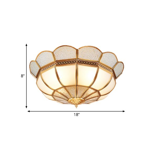 4-Light Flushmount Lighting Traditional Flower Milky Glass Ceiling Flush Mount in Gold for Bedroom Close To Ceiling Lights SHii1