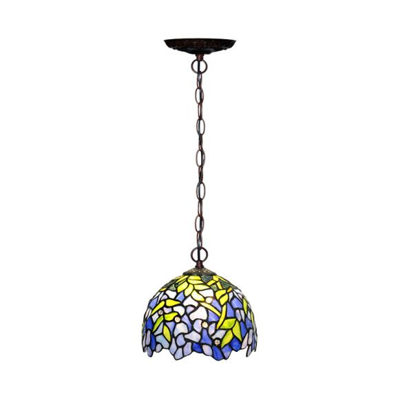 1/2 Lights Dome Hanging Chandelier Tiffany Yellow Cut Glass Pendant Lamp for Kitchen, 8
