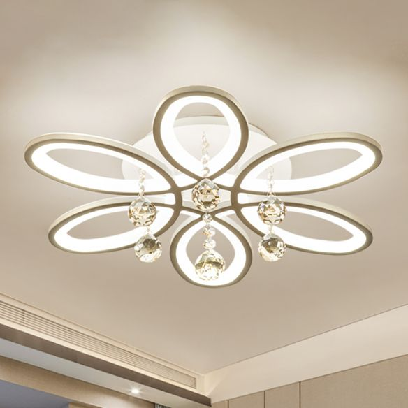 Acrylic Floral Flush Light Modernist LED Ceiling Light Fixture in White with Crystal Ball for Bedroom Close To Ceiling Lights TiImX
