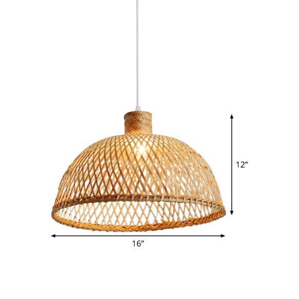 1 Bulb Tearoom Ceiling Lamp Asian Wood Hanging Pendant Light with Dome Bamboo Shade Pendant Lights euTvs