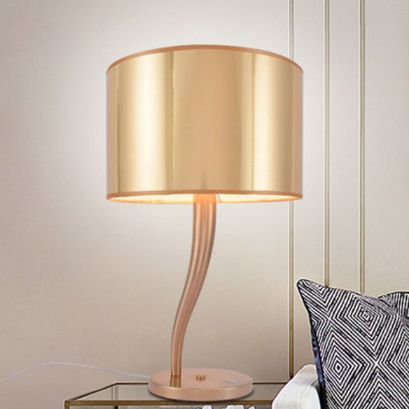 1 Bulb Cylindrical Task Lighting Modern Fabric Reading Book Light in Gold for Bedside Table Lamps t6hkS