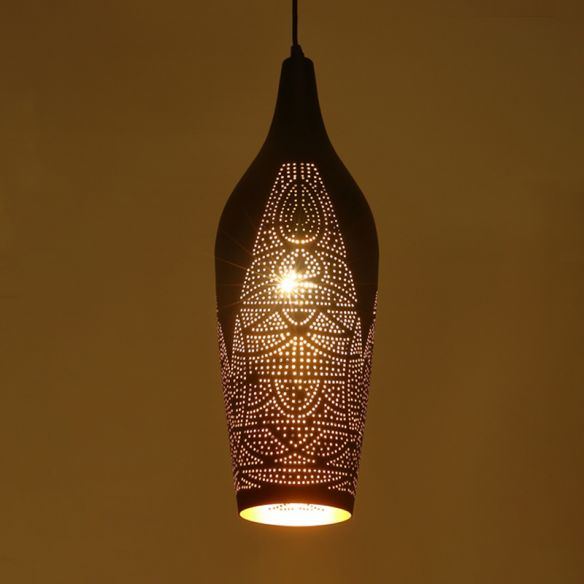 Carved Pendant Lighting Decorative Metal 1 Bulb Ceiling Suspension Lamp in Black Pendant Lights UIS2P
