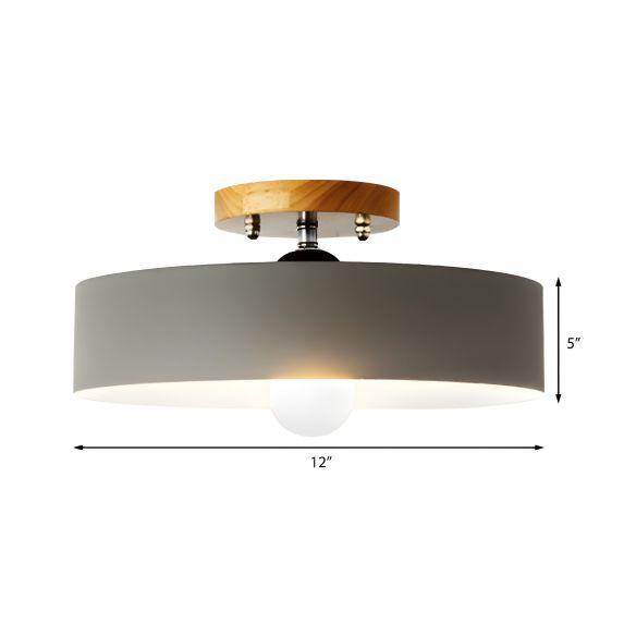 Drum Semi Mount Lighting Modernist Metal 1 Light 12
