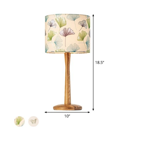 Wood Barrel Study Lamp Modernism 1 Head Fabric Task Lighting with Butterfly/Flower Pattern Table Lamps yXU4B