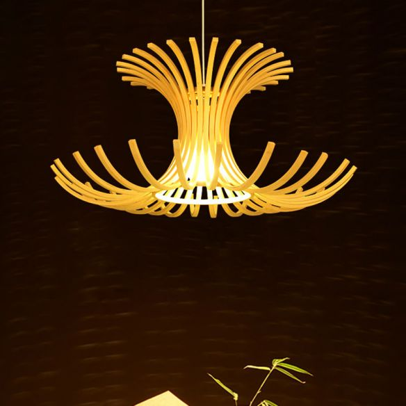 Japanese 1 Head Pendant Light Beige Flared Suspended Lighting Fixture with Bamboo Shade Pendant Lights 0X4dw