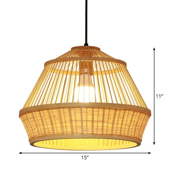 1 Bulb Teahouse Pendant Light Asia Beige Suspended Lighting Fixture with Basket Bamboo Shade Pendant Lights 5b2P3