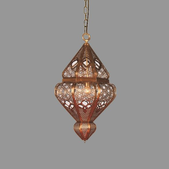 Brass 1-Bulb Suspended Pendant Antiqued Metallic Urn Shade Hanging Light Fixture Pendant Lights JqCzi