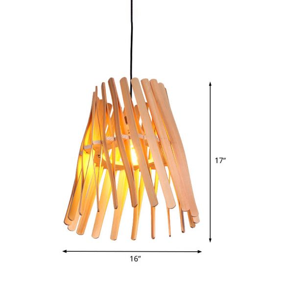 1 Bulb Bedroom Hanging Lamp Asia Beige Ceiling Pendant Light with Conical Wood Shade Pendant Lights mr0d8