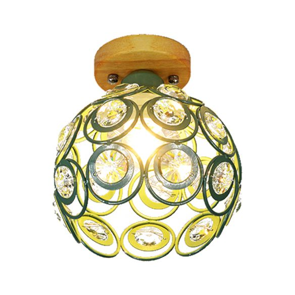 1 Head Pink/Green/Gray Flush Mount Lighting with Global Metal Lampshade Nordic Flush Mount Lamp for Foyer Close To Ceiling Lights 4LXkg