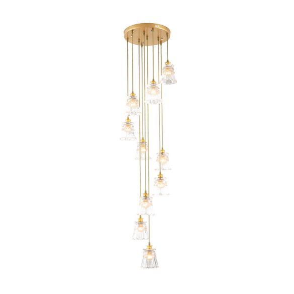 10-Bulb Crystal Suspension Lamp Contemporary Gold Spiral Stair Multiple Hanging Light Pendant Lights VdruB