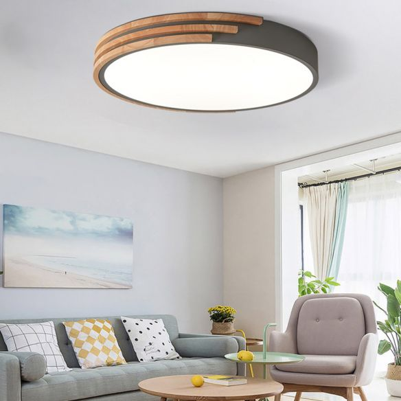 Nordic Style Round Ceiling Fixture Wood and Acrylic Unique ...