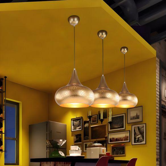 Gourd Restaurant Down Lighting Art Deco Metal 1 Bulb Silver/Bronze/Brass Hanging Pendant Light Pendant Lights i6Hka