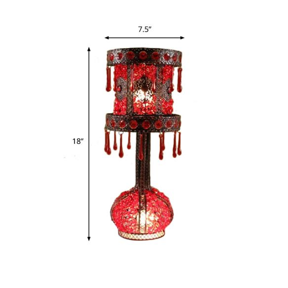 Red Cylinder Night Table Light Bohemian Metal 2 Bulbs Living Room Nightstand Lighting with Acrylic Decoration Table Lamps 512wu