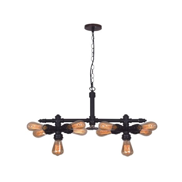 10 Bulbs Iron Ceiling Chandelier Vintage Black Radial Pipe Living Room Suspended Pendant Light Chandeliers hURdq