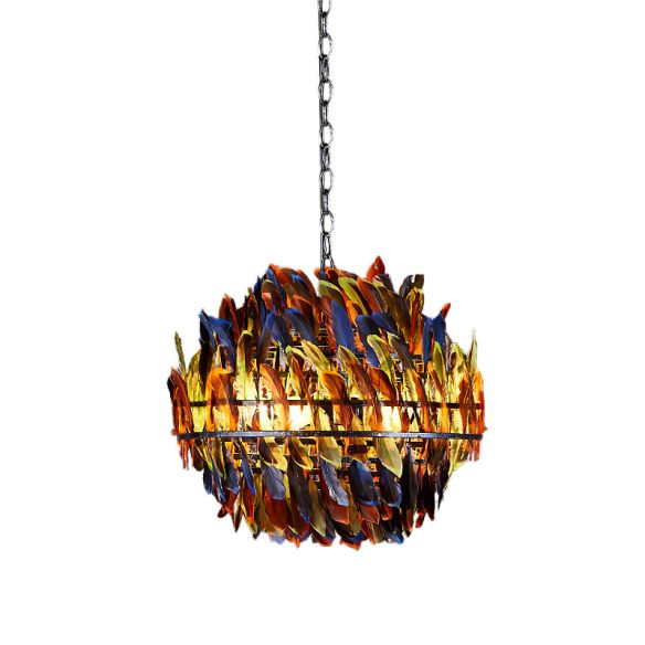 Iron Blue Ceiling Chandelier Globe Cage 4-Light Industrial Suspension Lamp with Multi-Color Feather Deco Chandeliers P04Gv