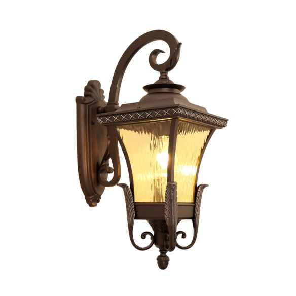 1 Bulb Aluminum Wall Sconce Country Dark Coffee Lantern Outdoor Wall Lamp with Water Glass Shade Wall Lamps & Sconces EvtnH