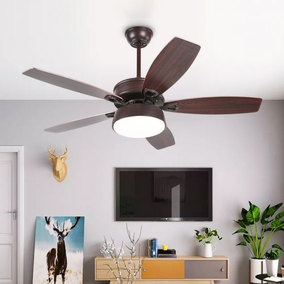 Drum Metallic Ceiling Fan Light Vintage Living Room 50 Wide Led Semi Flush Lamp In Coffee With Acrylic Shade 5 Blades 110v 120v Coffee