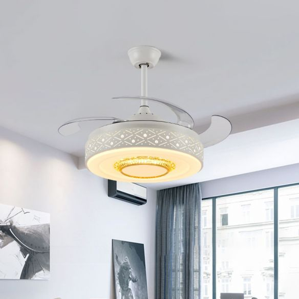 Drum Metal Ceiling Fan Light Modern 42 Width Led Bedroom 4 Blades Semi Flush Mount Lighting In White Remote Wall Control Ceiling Fans With Lights