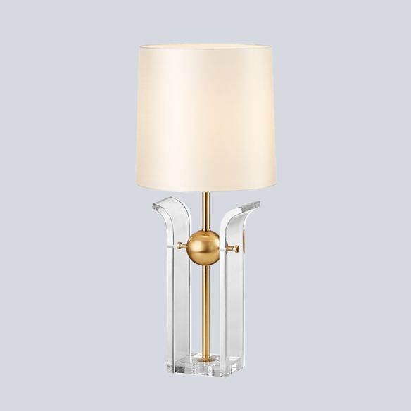 1 Bulb Barrel Shade Desk Light Modern Fabric Reading Lamp in White with Crystal Base Table Lamps oxUND