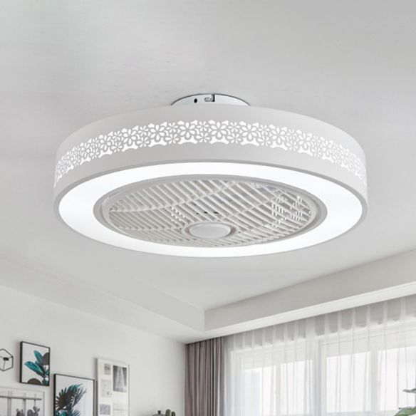 Acrylic White Hanging Fan Lamp Round Led 21 5 Wide Minimalism Semi Flush Mount Ceiling Light With 4 Blades Ceiling Fans With Lights