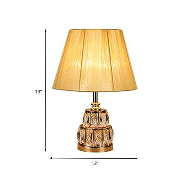 Fabric Tapered Task Light Modern 1 Bulb Gold Nightstand Lamp, 2-Tier Clear Crystal Base Table Lamps oDz1a