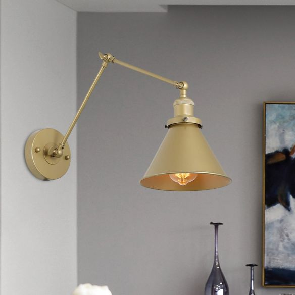 Iron Gold Finish Sconce Lamp Swing Arm 1-Head Industrial ...
