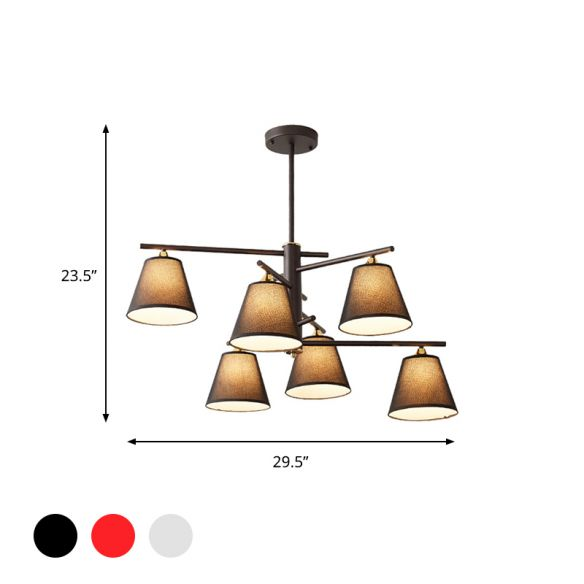 Fabric Tapered Hanging Chandelier Traditional 4/6/8 Lights Living Room Pendant Light in Black/White/Red Chandeliers Eo95t