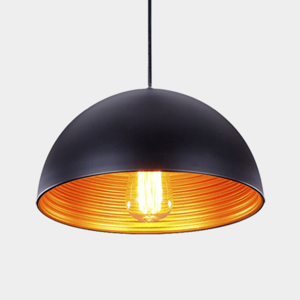 Industrial Dome Hanging Lighting 1-Head Iron Ceiling Pendant Lamp in White/Black for Bar Pendant Lights vLhJZ