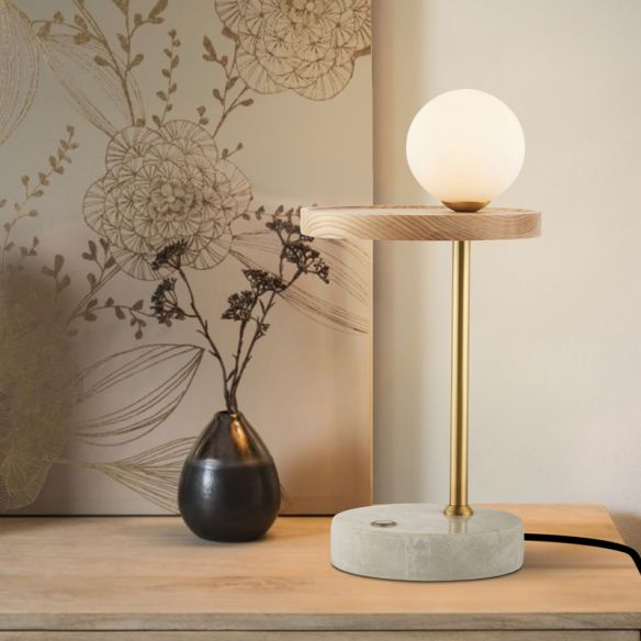 Wood Sphere Nightstand Light Asian 1 Light Opal Glass Night Table Lamp for Living Room Table Lamps 8qLVW