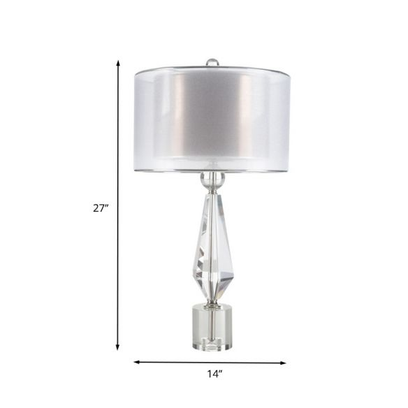 Fabric Cylinder Desk Light Modernist 1 Bulb White Night Table Lamp with Clear Crystal Base Table Lamps IEs2J
