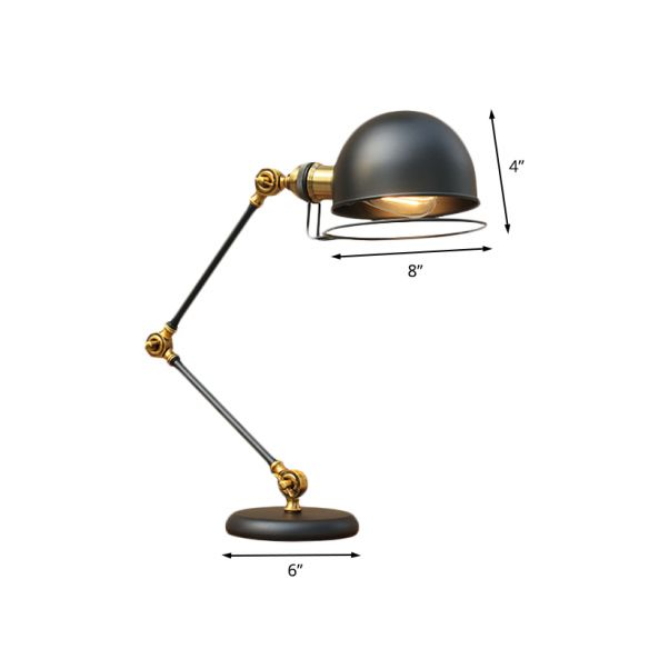 1 Bulb Dome Task Light Industrial Black Finish Metallic Table Lamp with Ring Detail and Swing Arm, 6.5