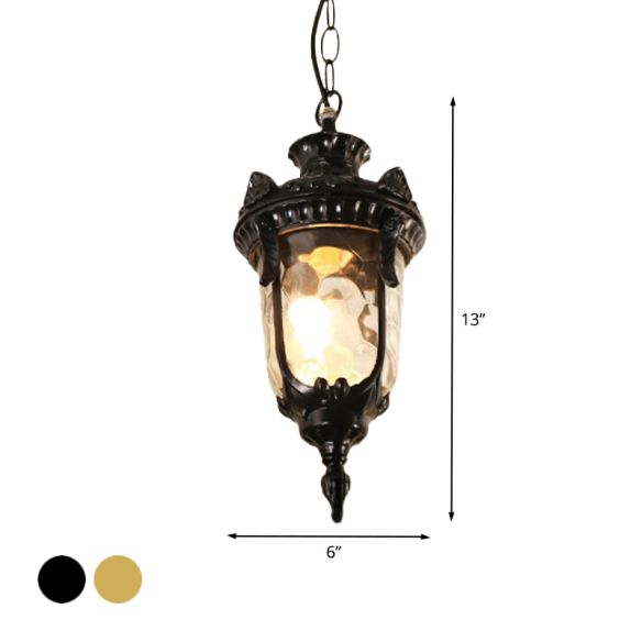 1-Head Aluminum Ceiling Light Country Black/Brass Urn Garden Hanging Lamp Fixture with Water Glass Shade Pendant Lights EH9sL
